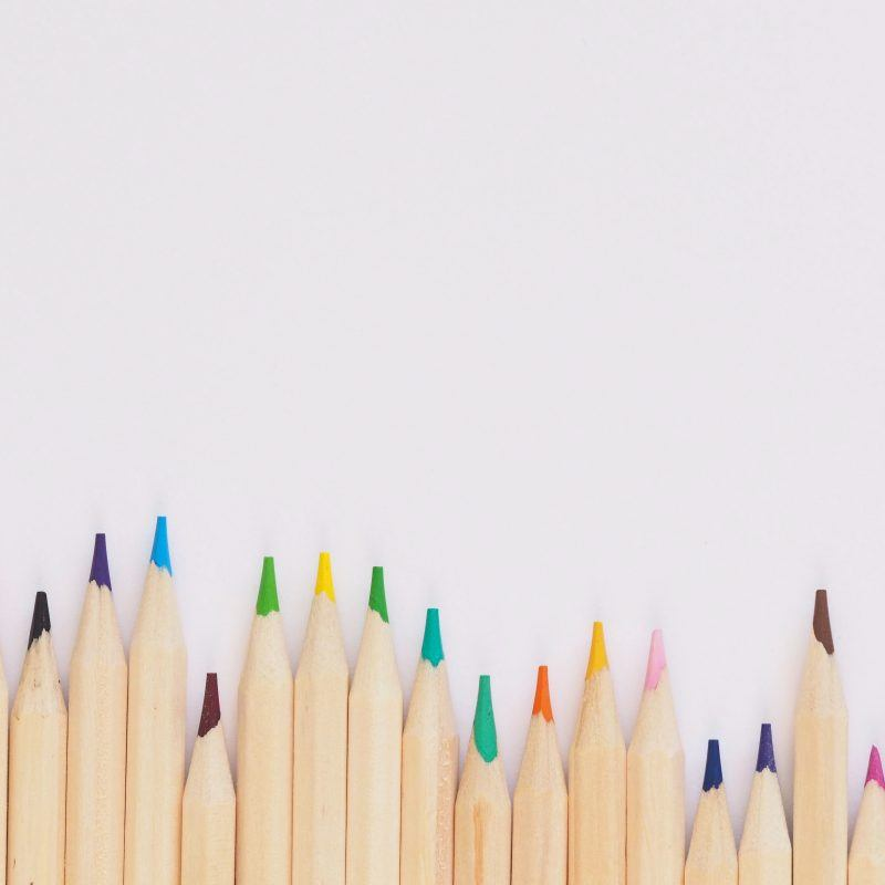 Pencils at different heights